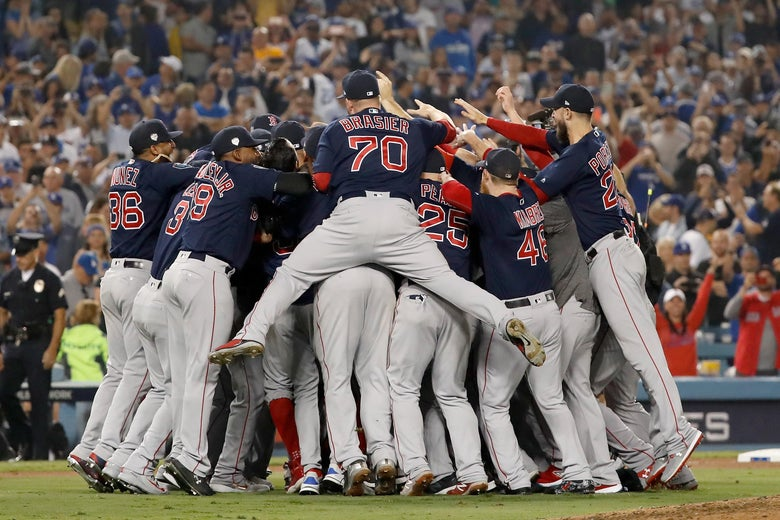 The Boston Red Sox celebrate.