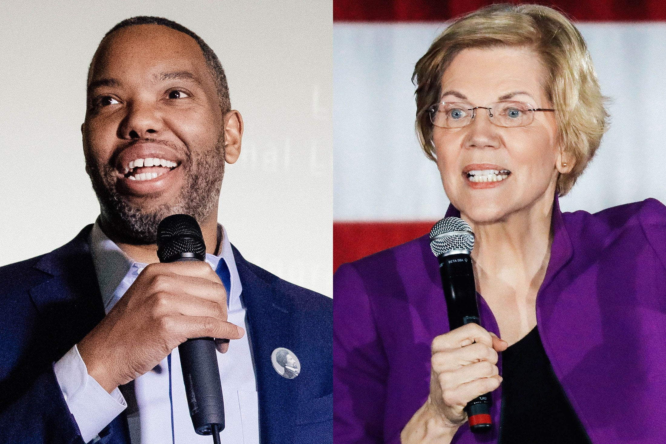 Coates and Warren pictured side by side, both wearing a jacket over a shirt and holding a microphone.