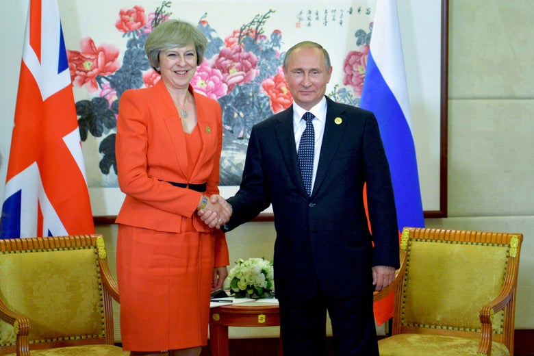 Russian President Vladimir Putin (R) meets with Britain's Prime Minister Theresa May on the sidelines of the G20 Leaders Summit in Hangzhou on September 4, 2016. / AFP / SPUTNIK / ALEXEI DRUZHININ        (Photo credit should read ALEXEI DRUZHININ/AFP/Getty Images)
