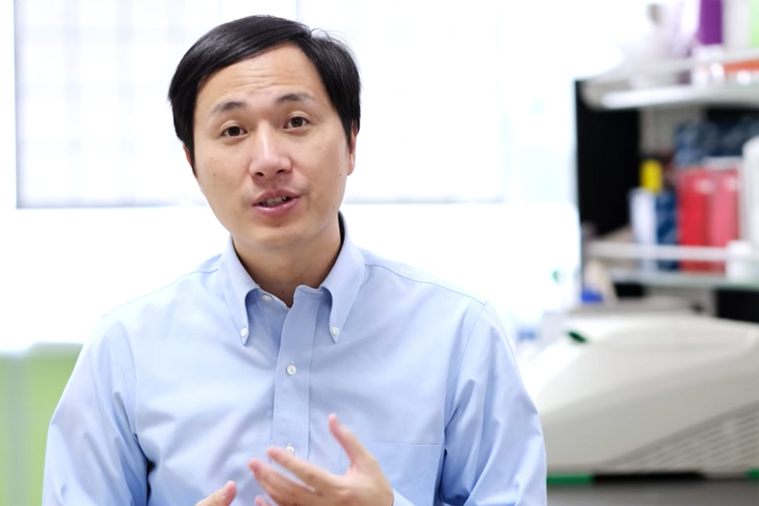 Screen grab of He Jiankui video.