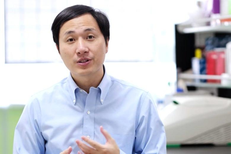 Screen grab of He Jiankui video.