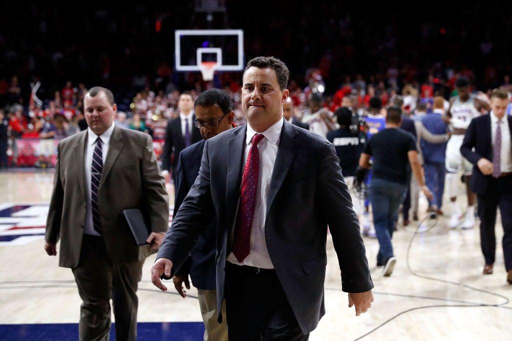 Arizona head coach Sean Miller on Feb. 8, 2018 at a game in Tucson.