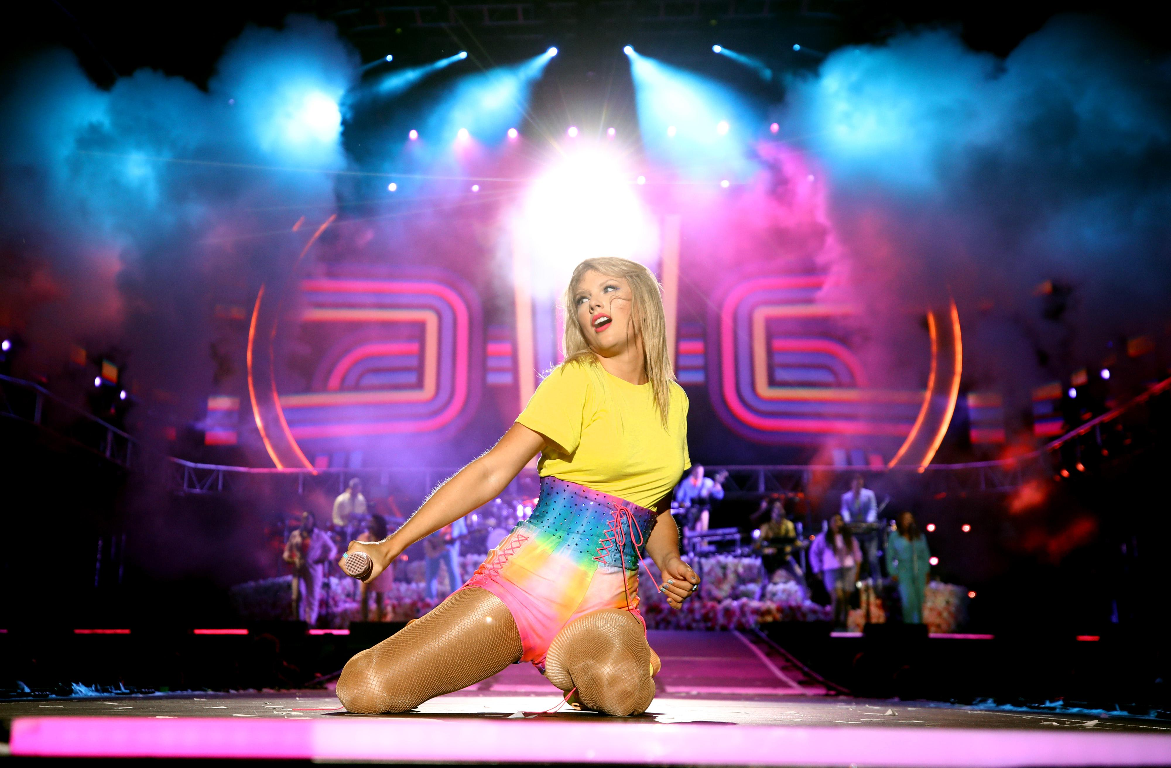 Hopelessly clumsy ally Taylor Swift performs onstage at 2019's Wango Tango in June.