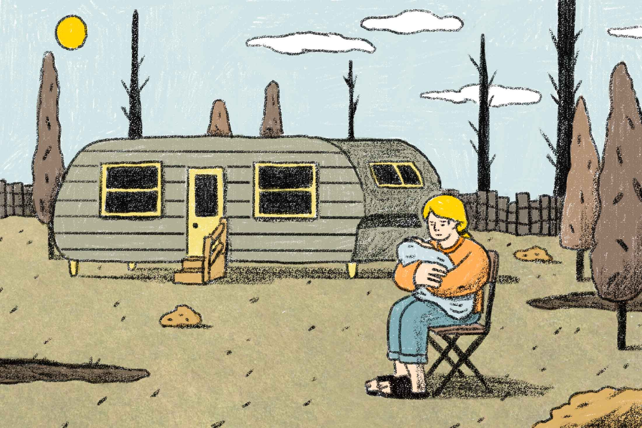 Illustration: A woman cradles a baby in her arms outside a trailer.