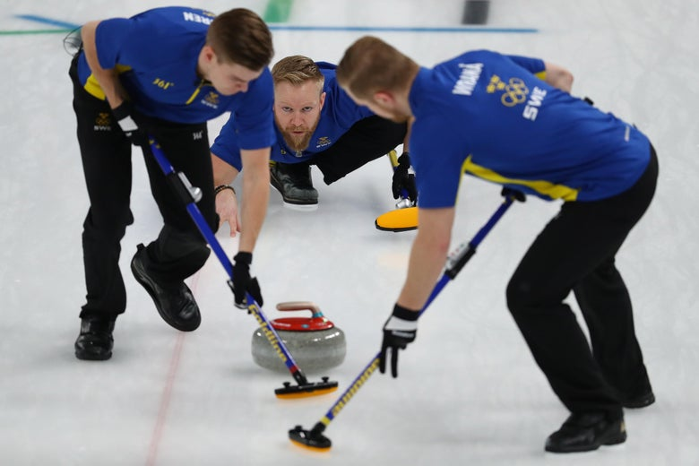 GANGNEUNG, SOUTH KOREA - FEBRUARY 24:  Niklas Edin of Sweden delivers a stone during the game against the United States during the Curling Men's Gold Medal game on day fifteen of the PyeongChang 2018 Winter Olympic Games at Gangneung Curling Centre on February 24, 2018 in Gangneung, South Korea.  (Photo by Dean Mouhtaropoulos/Getty Images)
