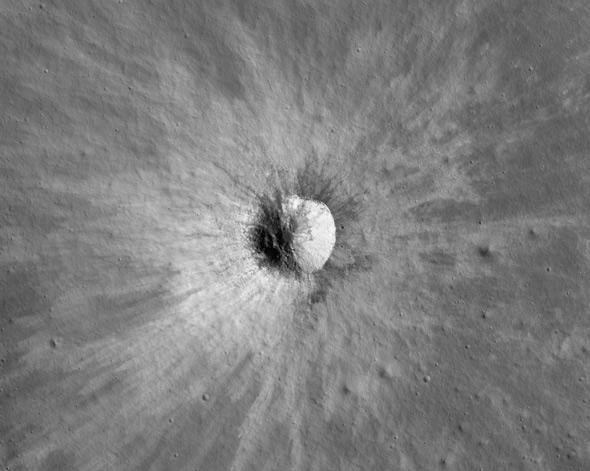 fresh lunar crater
