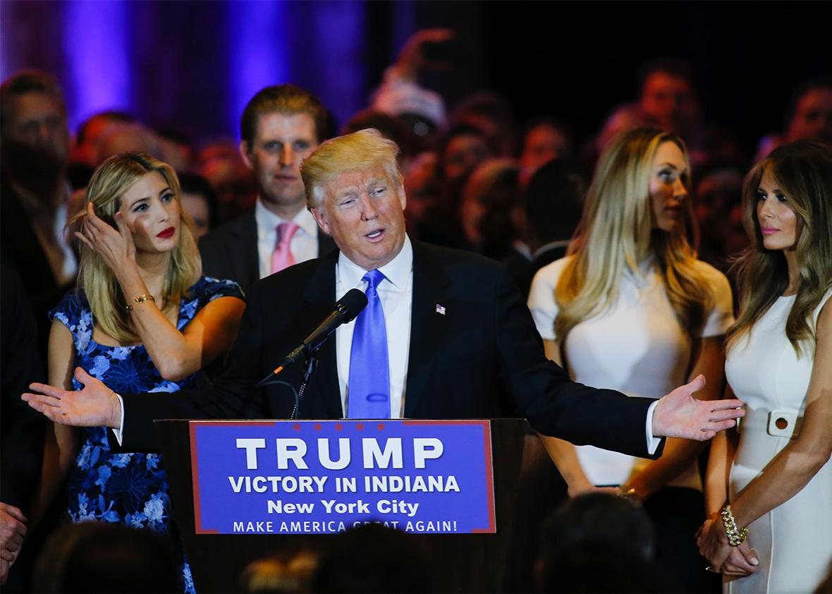Republican presidential front runner Donald Trump speaks to supporters and the media at Trump Tower in Manhattan following his victory in the Indiana primary on May 03, 2016 in New York, New York.