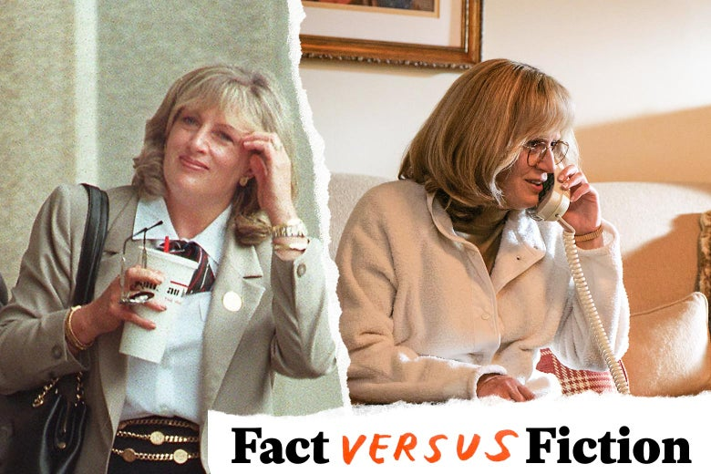 Linda Tripp holding a fast food soda and sunglasses, and Sarah Paulson as Tripp, talking on the phone.