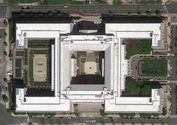 Overhead view of the Rayburn Building.