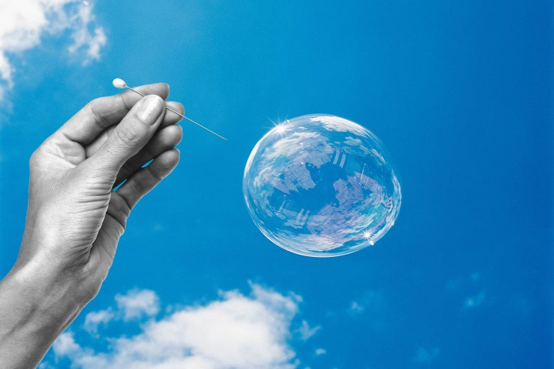 Photo illustration: Someone popping a bubble with a pin.
