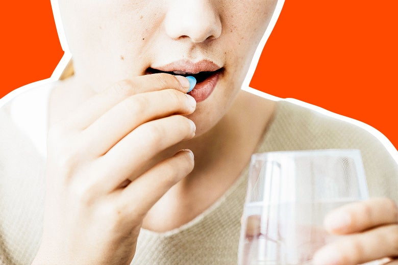 Photo illustration: a stock image of a woman taking a pill against an orange background.