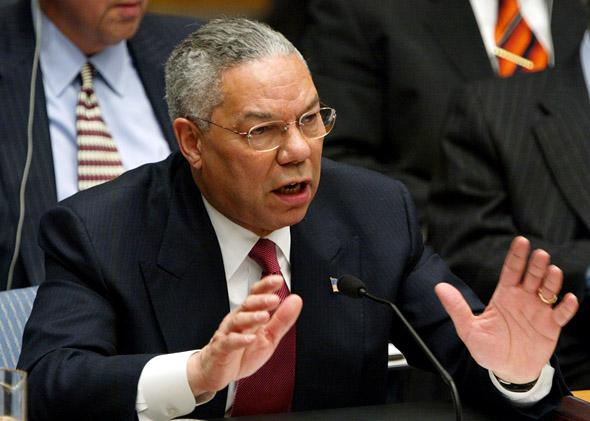 U.S. Secretary of State Colin Powell delivers his address to the UN Security Council February 5, 2003 in New York City. Powell is making a presentation attempting to convince the world that Iraq is deliberately hiding weapons of mass destruction.