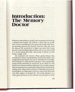 "Loftus introduced the ""memory doctor"" in her 1980 book Memory. Click image to expand."