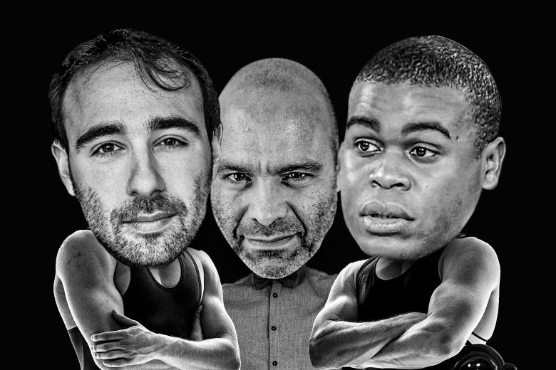 From left to right: Yascha Mounk, Mike Pesca, and Osita Nwanevu, their heads photoshopped onto muscular people who appear ready to fight, and for Pesca, on a referee.