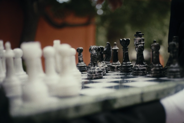 A chessboard with pieces