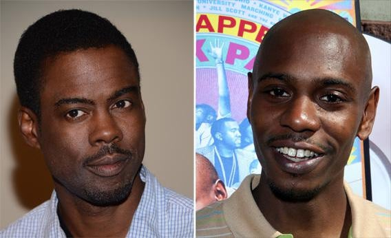 Actor Chris Rock in 2012 and Comedian Dave Chappelle in 2006.