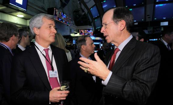 """Chairman and CEO of JPMorgan Chase James """"Jamie"""" Dimon and Adm. Mike Mullen, former chairman of the Joint Chiefs of Staff"""