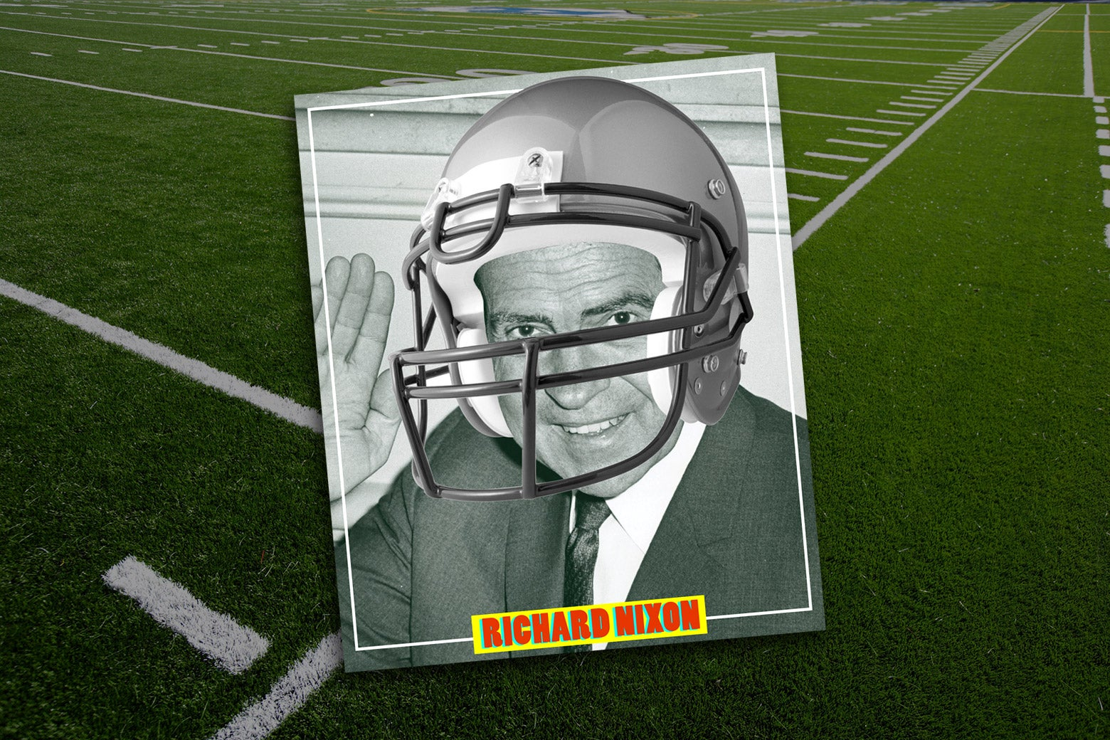 Photo illustration: A photo of Nixon with a football helmet digitally in a border like a baseball trading card. The image is set against the background of a football field.