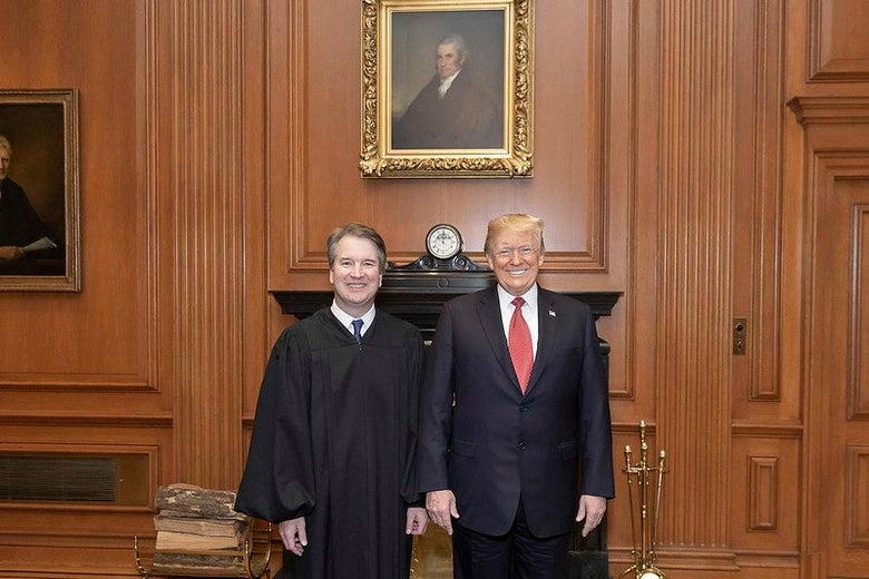 Brett Kavanaugh and Donald Trump smile widely at the Supreme Court.