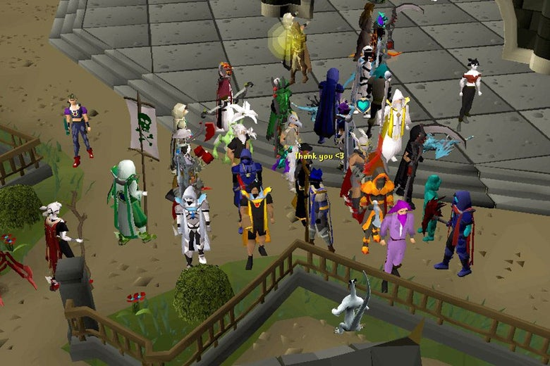 A large group of avatars in various bold colors in Old School RuneScape.