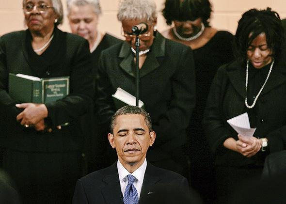 President Barack Obama takes part in Sunday service at the Vermont Avenue Baptist Church in Washington, D.C., on Jan. 17, 2010.