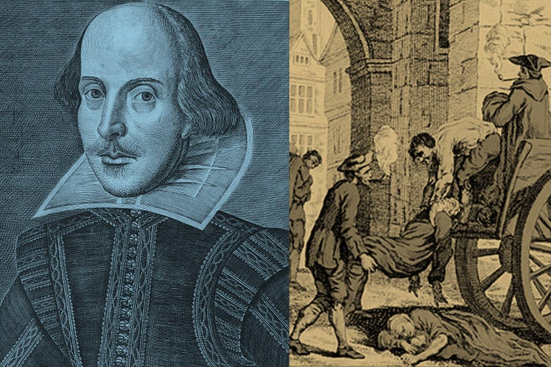 Diptych of a portrait of Shakespeare and an illustration of the plague.