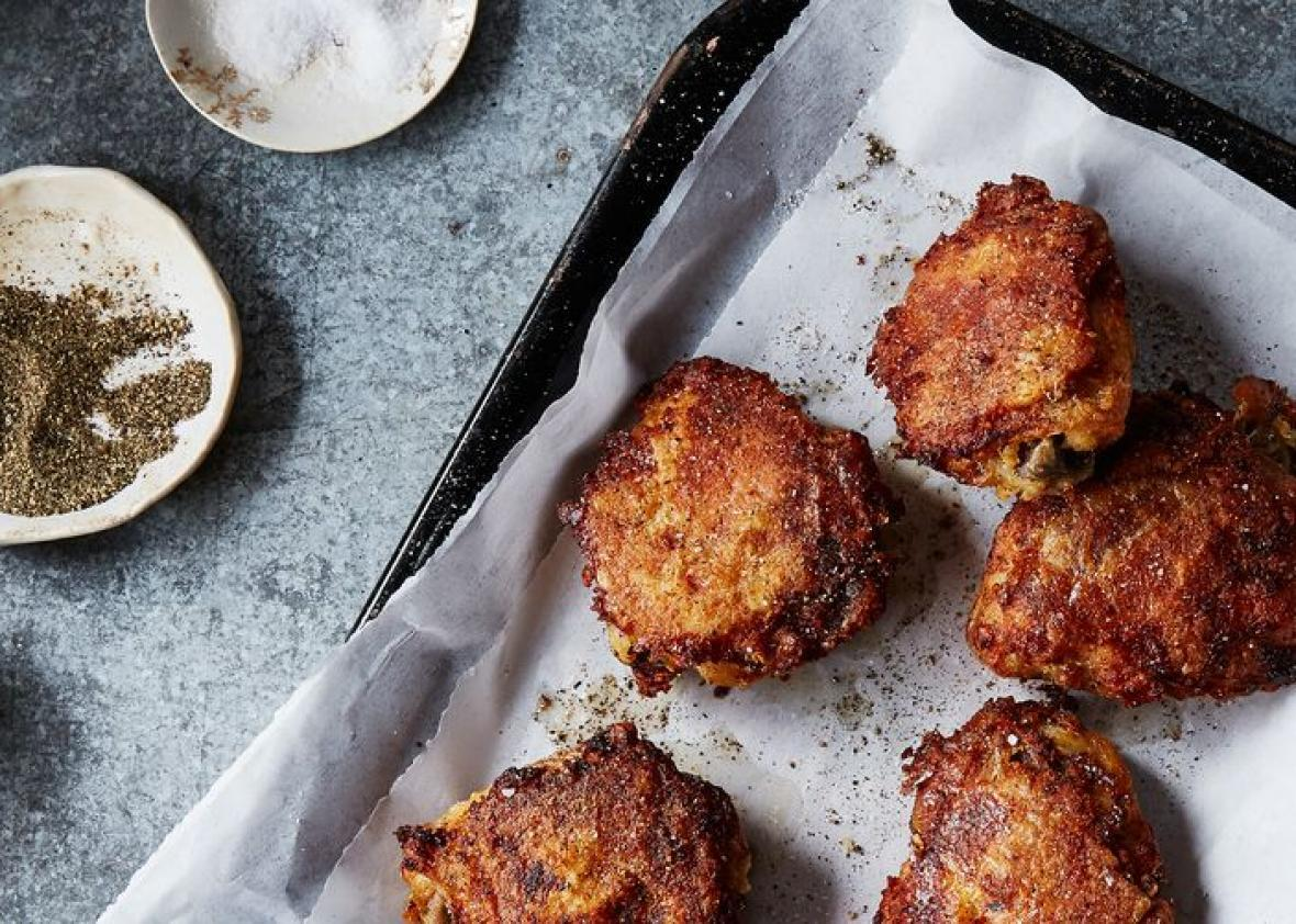 Recipe for oven-fried chicken works best if you give the chicken a salted ice bath.