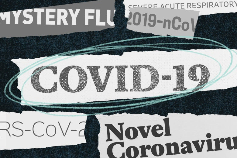 "A collage of newspaper headline–style tear-outs of words like ""COVID-19"" and ""coronavirus."""