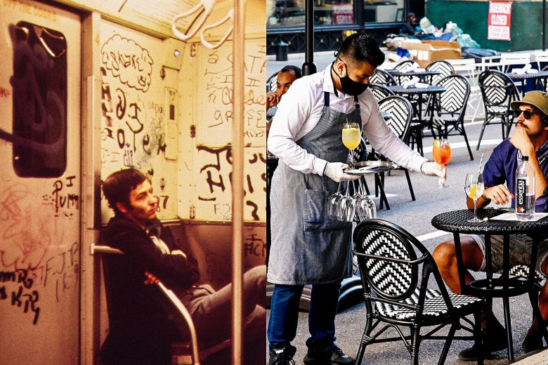 On the left, a graffitied interior of a subway car in New York City in 1973. On the right, pleasant outdoor dining in New York City now. The waiter is masked. Seems nice!
