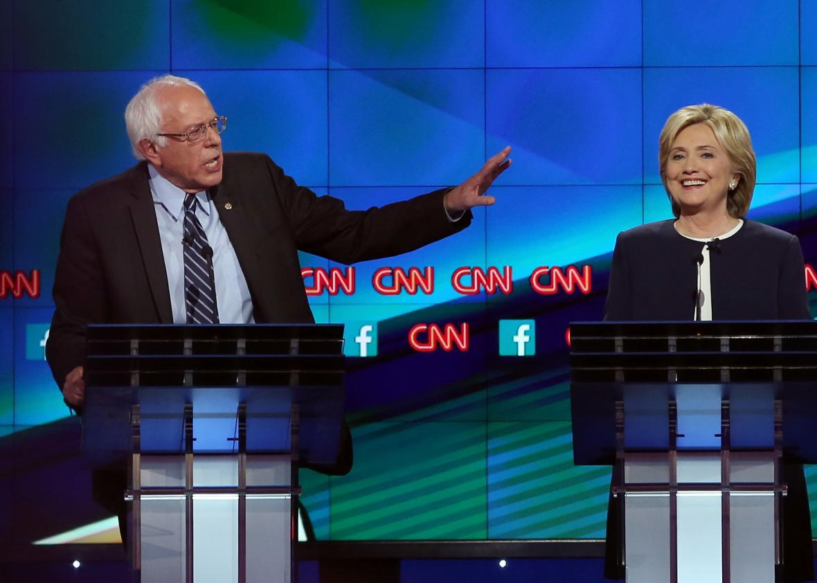 Bernie Sanders and Hillary Clinton take part in the Democratic presidential debate on Oct. 13, 2015, in Las Vegas.
