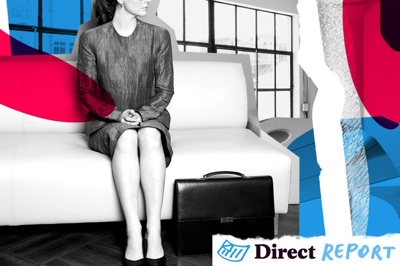A woman on a living room couch with her briefcase on the floor