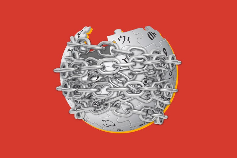 Photo illustration of the Wikipedia puzzle-globe logo wrapped in chains.