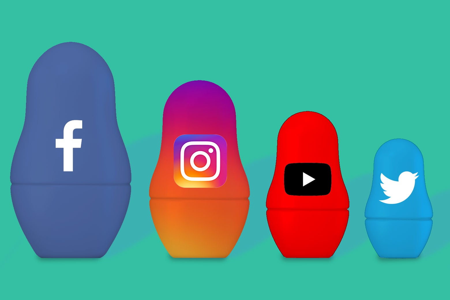 Facebook, Instagram, YouTube, and Twitter logos on the Russian nesting dolls