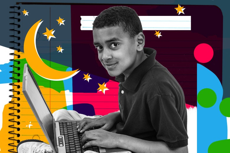 A kid sits at a laptop and smiles. He's surrounded by stars and a crescent moon.