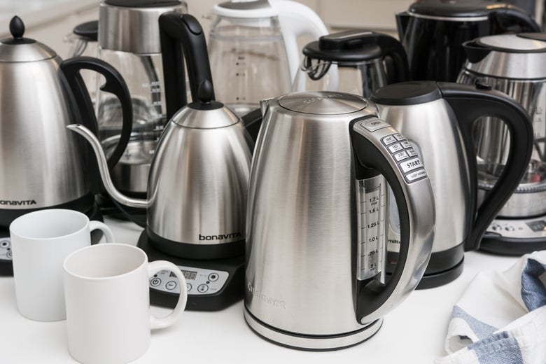 assortment of electric kettles