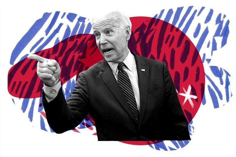 Joe Biden points toward his right.