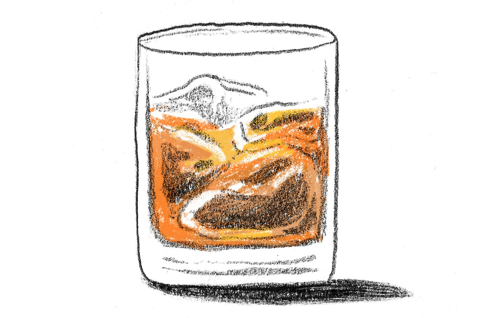 A glass of whiskey on the rocks.