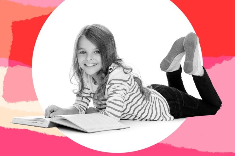 Teen girl reading a book.