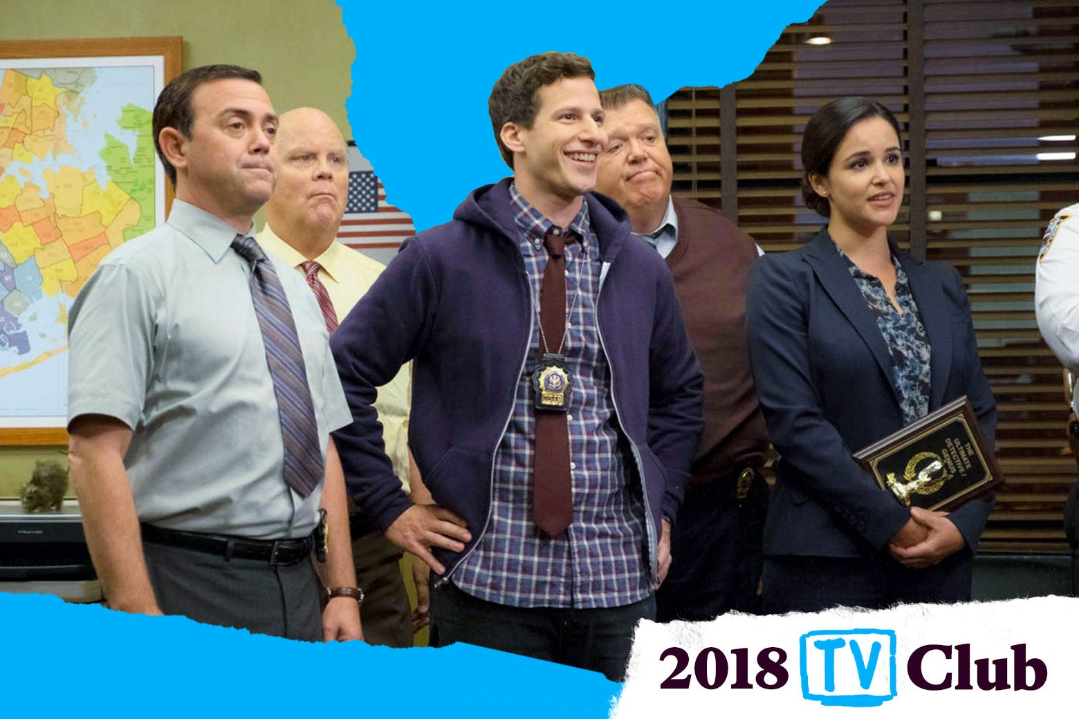 Still from Brooklyn Nine-Nine with the 2018 TV Club logo