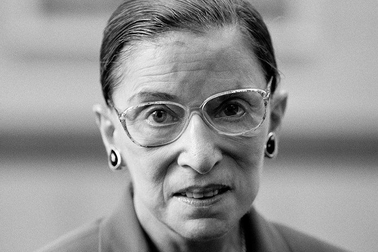 A black-and-white photo of Ruth Bader Ginsburg