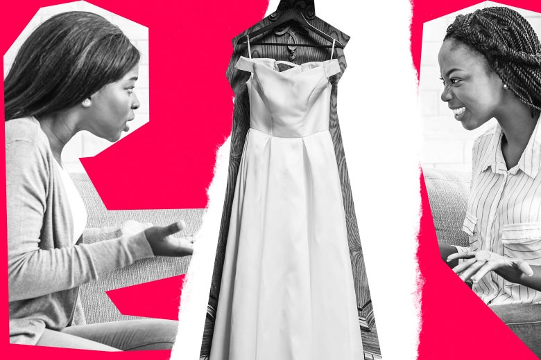 Collage of two women fighting over a wedding dress.