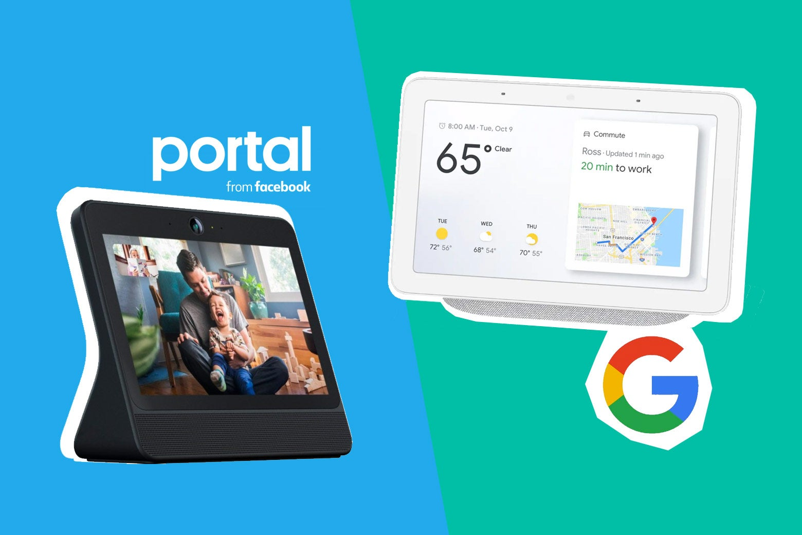 Facebook Portal and Google Home Hub