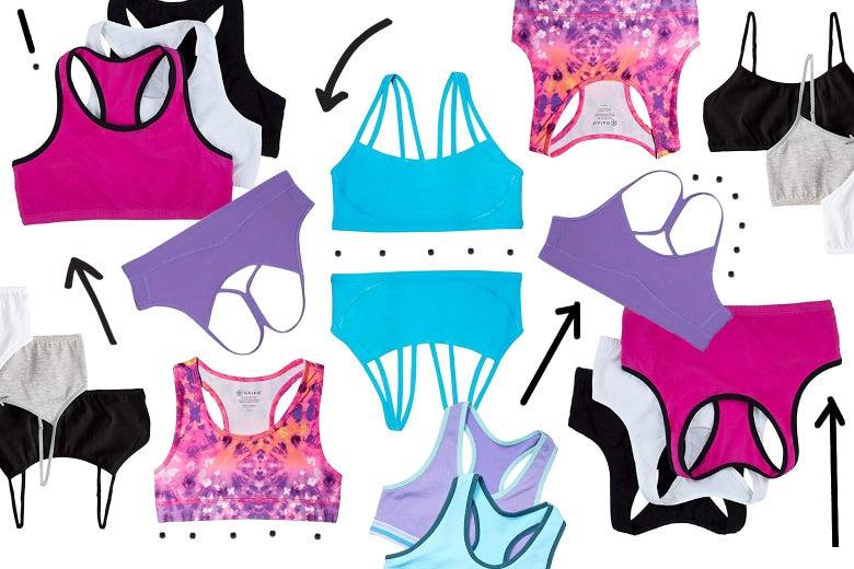 Photo collage of girls bras.