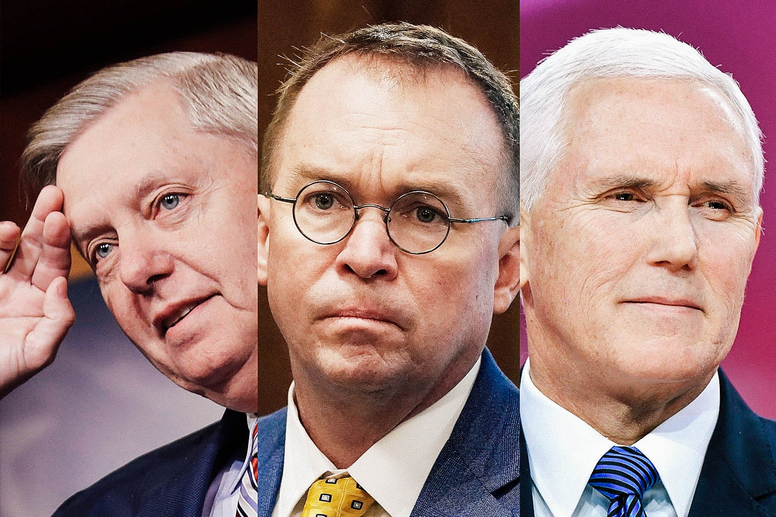 Lindsey Graham, Mick Mulvaney, and Mike Pence.