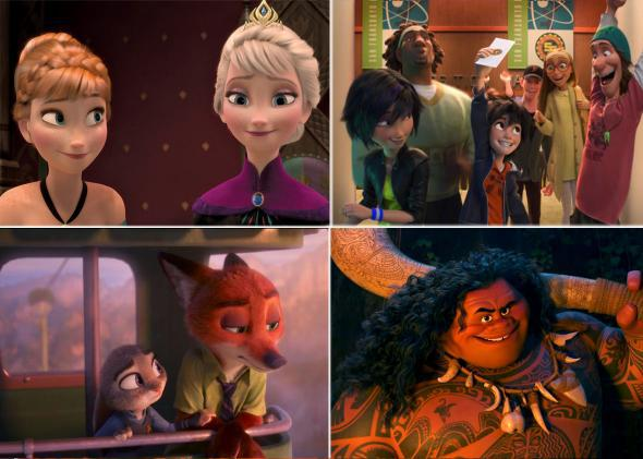 Frozen, Big Hero 6, Zootopia, and Moana.