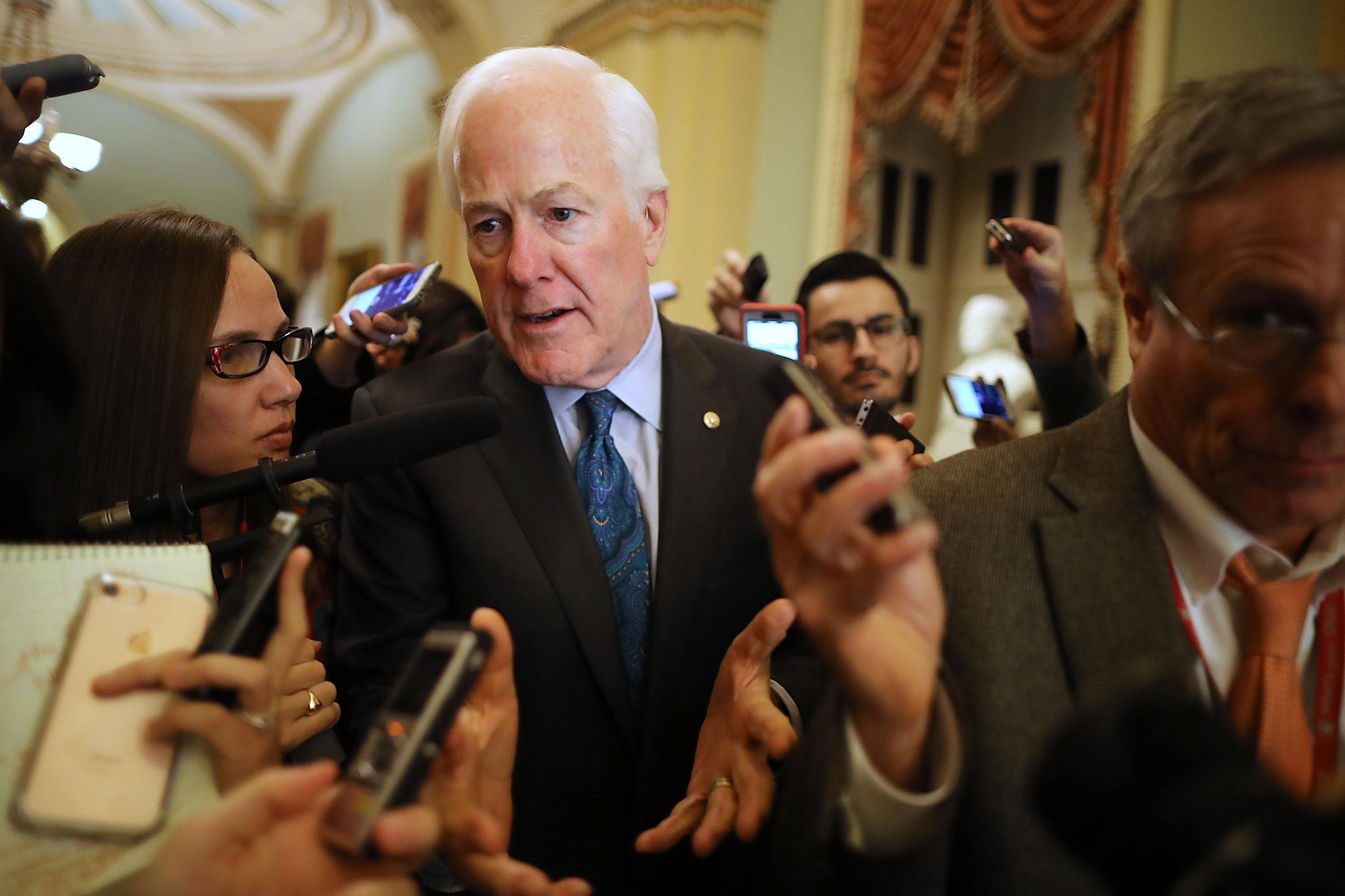 WASHINGTON, DC - NOVEMBER 30:  Senate Majority Whip John Cornyn (R-TX) talks to reporters at the U.S. Capitol November 30, 2017 in Washington, DC. The Senate is debating the proposed GOP tax reform bill and hopes to pass it before the end of the week.  (Photo by Chip Somodevilla/Getty Images)