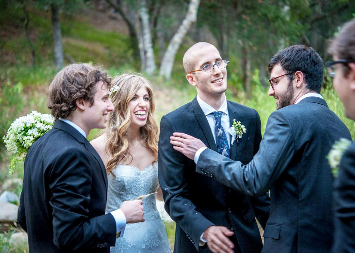 Shon Arieh-Lerer, Victoria Ritvo, Max Ritvo, and Andrew Kahn at Max and Victoria's wedding, August 1, 2015.