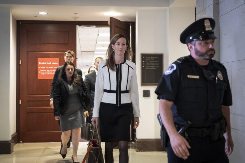 Jennifer Williams, an aide to Vice President Mike Pence, exits a deposition with the House Intelligence, Foreign Affairs and Oversight committees at the U.S. Capitol on November 7, 2019 in Washington, D.C.