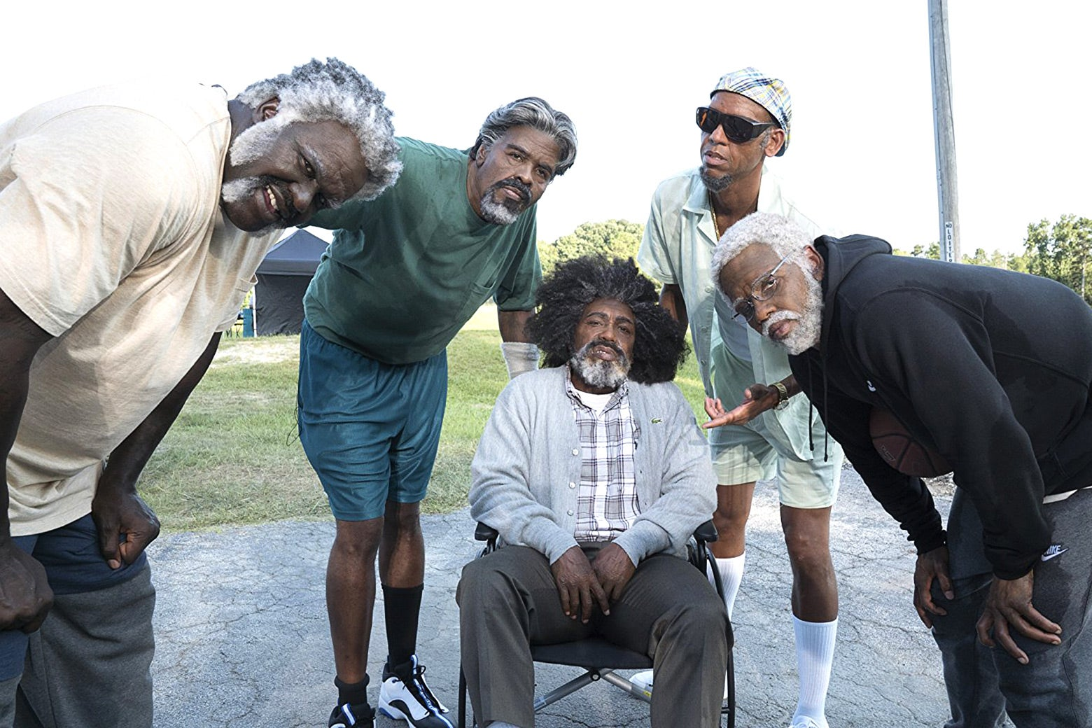 Shaquille O'Neal, Chris Webber, Nate Robinson, Reggie Miller, and Kyrie Irving in Uncle Drew.