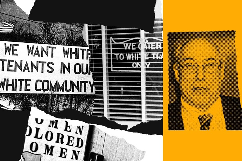 "Collage of segregation signs reading ""COLORED WOMEN"" and ""WE WANT WHITE TENANTS IN OUR WHITE COMMUNITY,"" and a photo of Noel Ignatiev."